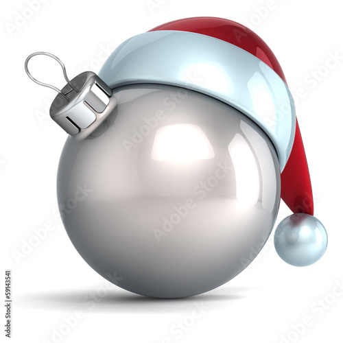 Christmas ball ornament New Year bauble decoration silver Santa