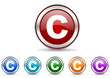 copyright icon vector set