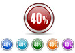 40 percent icon vector set