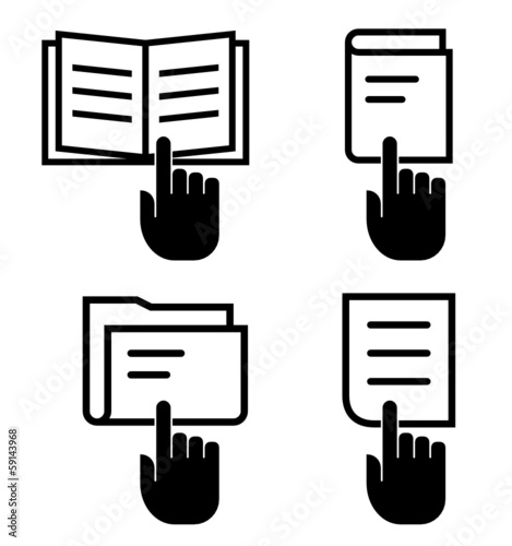 Manual, book, folder and document with hand vector icons