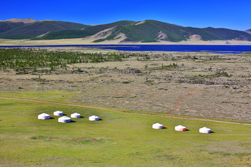 Yurt settlements, Terkhiin Tsagaan Lake, central mongolia