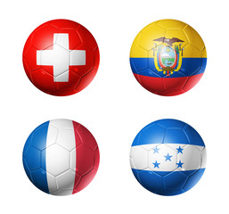 Brazil world cup 2014 group E flags on soccer balls