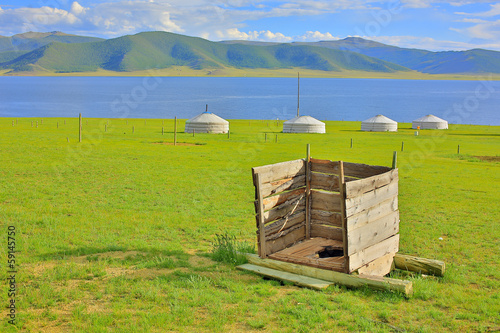 Mongolian wooden squat toilet