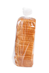 Sliced bread in plastic.