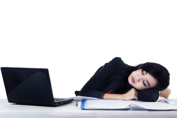 Young Businesswoman Sleeping - Isolated
