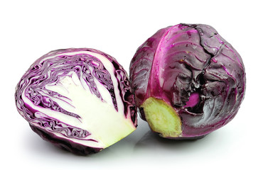 red cabbage on white background