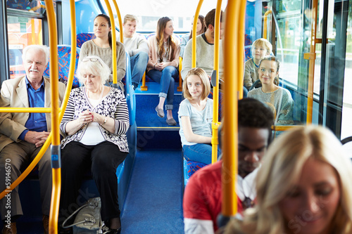 Interior Of Bus With Passengers - 59146570