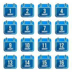 January vector flat calendar icons with long shadow. Calendar