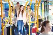 Leinwanddruck Bild - Interior Of Bus With Passengers