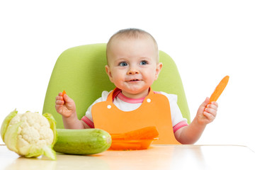 baby girl eating healthy vegetables
