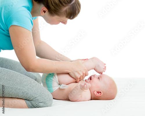 mother doing gymnastics her child