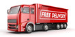 3d Red Truck with Free delivery text - isolated