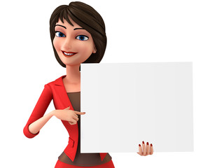 Business woman with white board