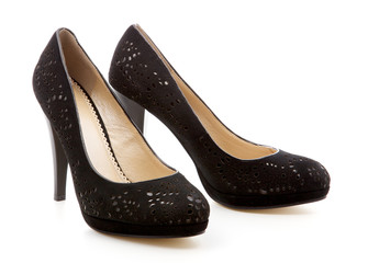 black, women's shoes on a white background