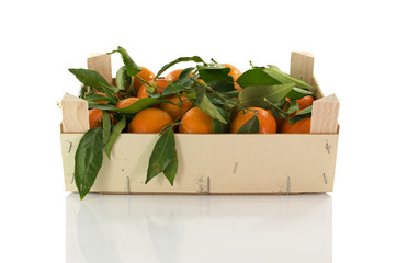 wooden box with mandarines