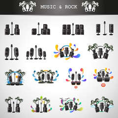 Microphone And Speakers Icons Set - Isolated On Gray