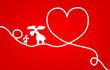 Karte Herz rot Rentiere