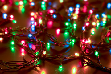 New Year and Christmas lights background