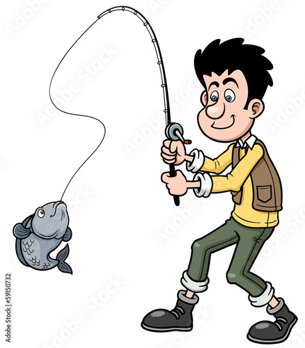 Vector illustration of Cartoon man fishing