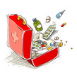 First aid box with medical drugs and pills. Eps10 vector