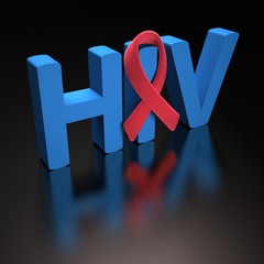Red Ribbon HIV. Clipping path included.