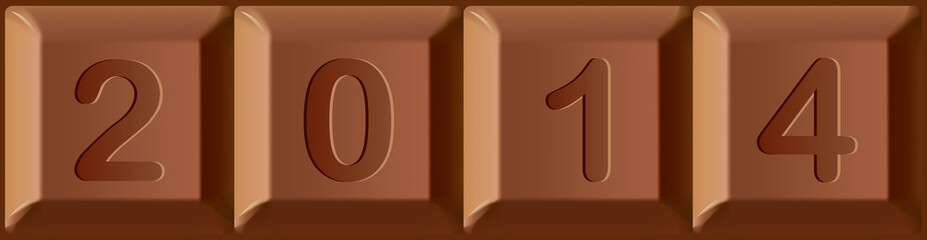New year 2014 printed on blocks of chocolate bar