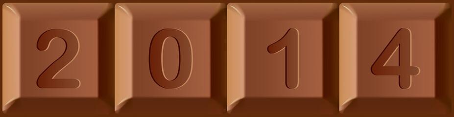 New year 2014 printed on blocks of chocolate bar