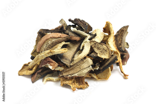 Dried mushrooms on white background