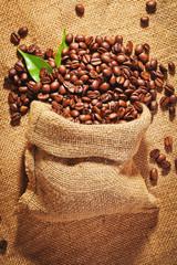 sack bag full of roasted coffee beans