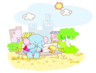 funny elephant and cartoon chicks were sitting in the city park