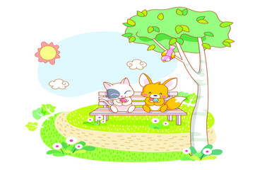 cute cartoon cat and squirrel are sitting in the garden