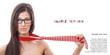 Sexy woman playing with his tie and eyeglasses - necktie