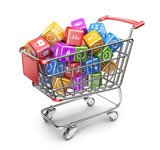 Shopping cart with app icons. 3D Isolated on white background