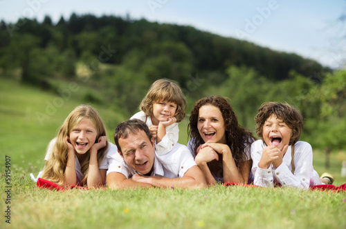 Big family is relaxing in green nature