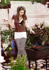 Eccentric Funny Woman Hipster and BBQ Grill