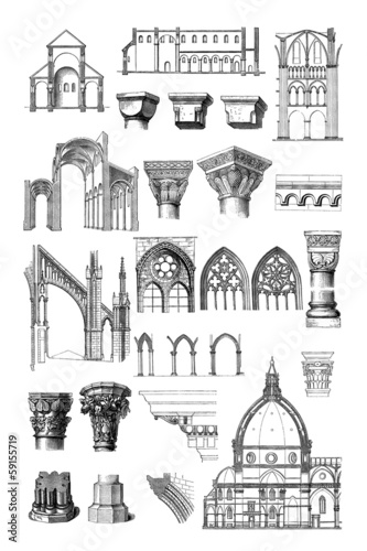 Постер, плакат: Architecture : Styles Middle Ages Renaissance , холст на подрамнике