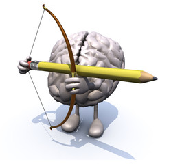brain with arms, legs, bow and arrow instead of a pencil