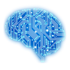 Circuit board in human brain form. Technological illustration.