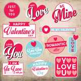 Set of retro stickers and badges for Valentine's day
