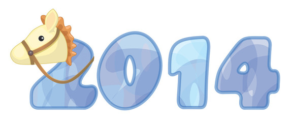 Vector New Year 2014 text.