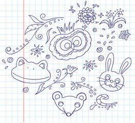 Floral and animal doodles drawing in vector