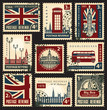 set of stamps with the flag of the UK and London sights - 59157760