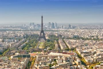 Panoramic view on Tour Eiffel and La Defense, Paris
