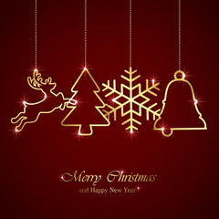 Christmas elements on red background