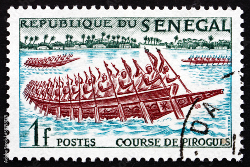 Postage stamp Senegal 1961 Pirogues Racing