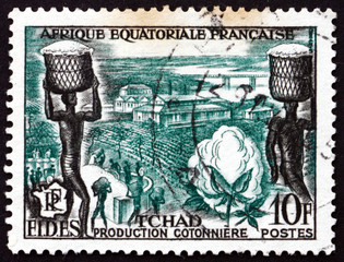 Postage stamp Chad 1956 Cotton