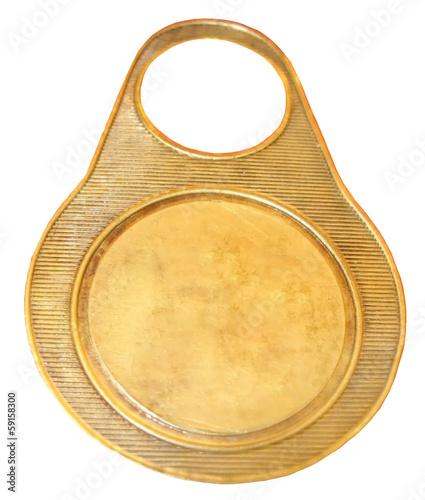 Number  written on circular golden tag