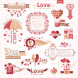 Set of Valentines Day design elements (color version)