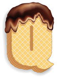 Letter Q consisting of wafers with chocolate cream