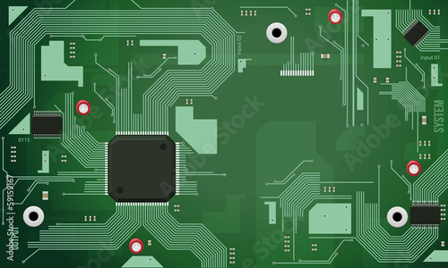 Printed Circuit Board With Chip CPU Processor